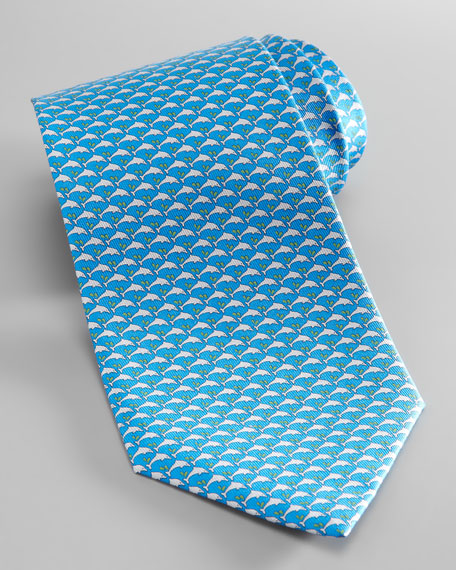 Dolphin-Print Silk Tie, Turquoise