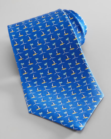 Palm Tree & Boat Tie, Blue