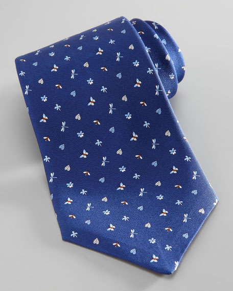 Dragonfly/Butterfly Silk Tie, Navy