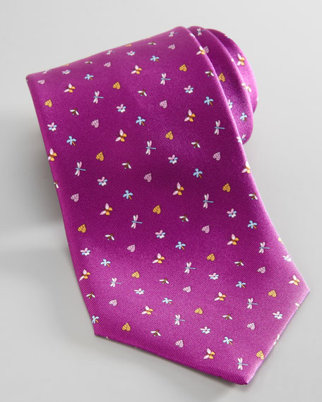Dragonfly/Butterfly Silk Tie, Purple