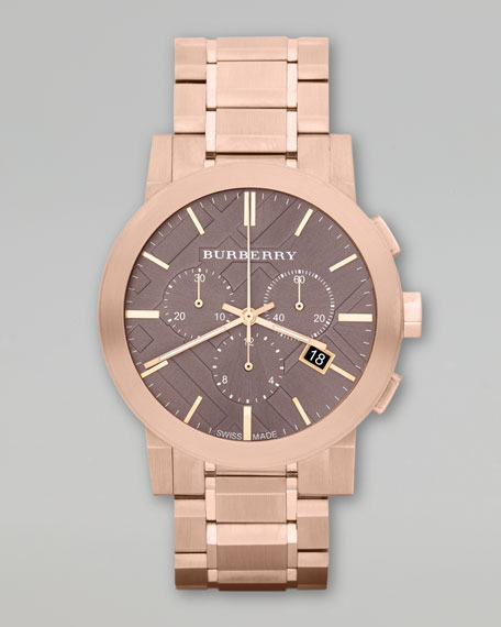 Ion-Plated Chronograph Watch, Rose Golden