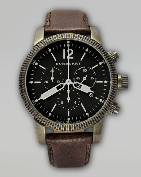 Antiqued Chronograph Watch, Brown