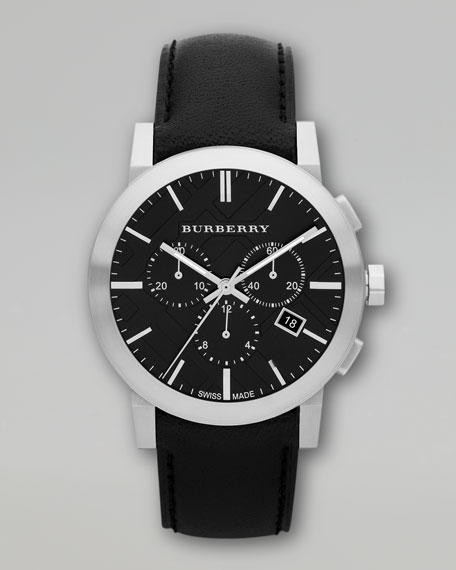 Leather-Strap Chronograph Watch