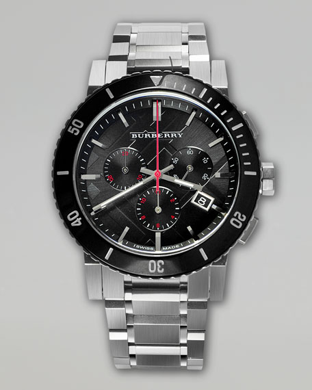 Ceramic-Bezel Chronograph Watch, Steel