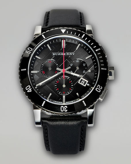 Ceramic-Bezel Chronograph Watch, Leather