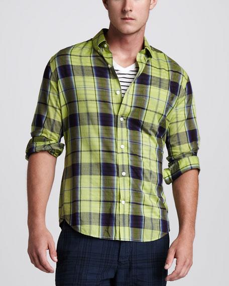 Plaid Button-Down Shirt, Citron