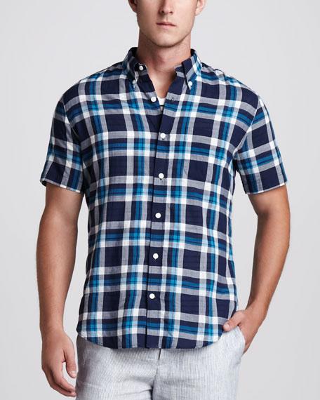 Plaid Short-Sleeve Sport Shirt