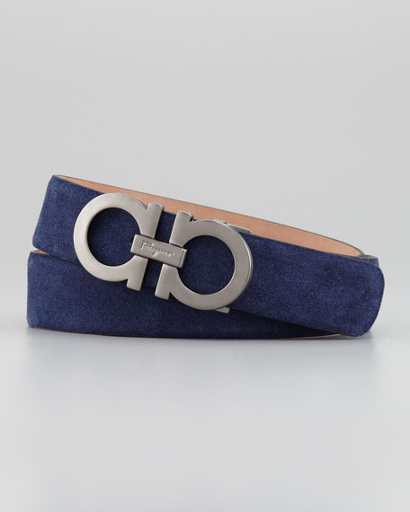 Double-Gancini Suede Belt, Royal Blue