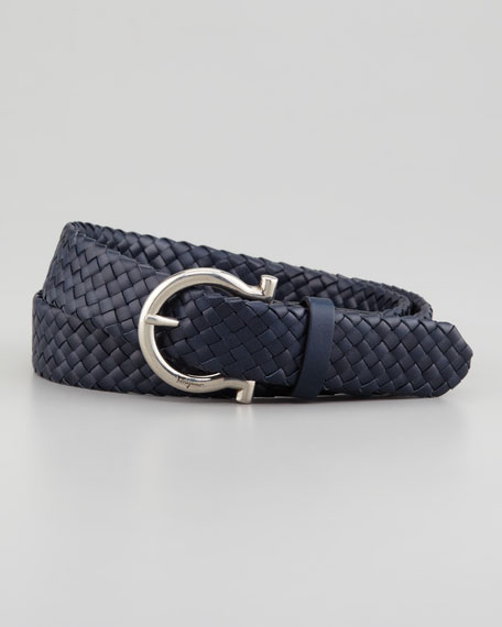 Braided Woven Leather Belt, Blue