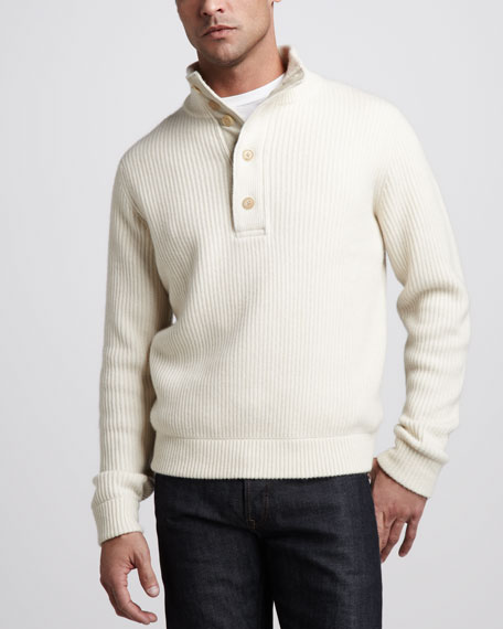Ribbed Mock-Neck Cashmere Sweater