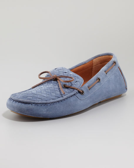 Suede Woven Driver, Light Blue