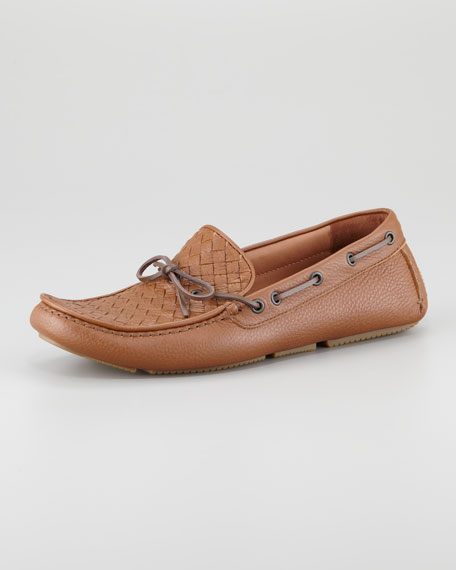 Woven Leather Driver, Light Brown