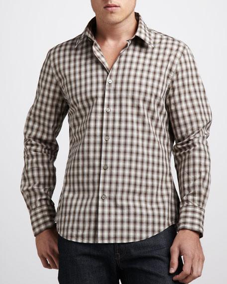 Wire-Collar Plaid Sport Shirt