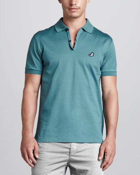 Sneaker-Logo Jersey Polo, Turquoise