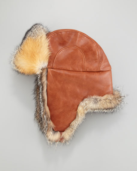 Fox Fur-Lined Leather Trapper Hat