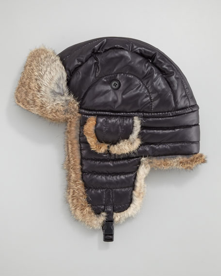 Rabbit Fur-Lined Tech Trapper Hat