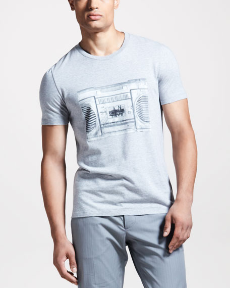 Radio-Print Silk Tee, Gray
