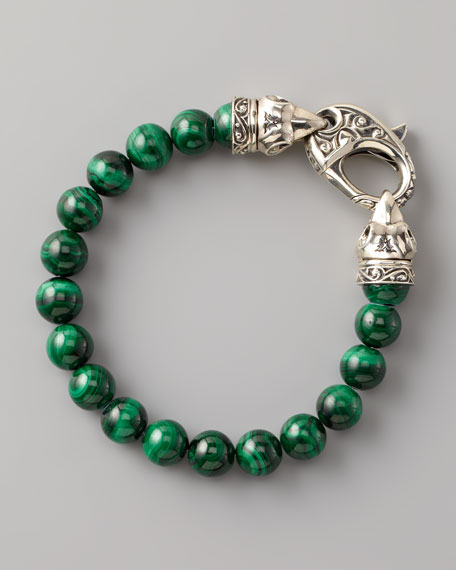 Malachite Bead Bracelet, 10mm