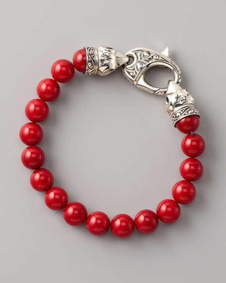 Red Coral Bead Bracelet, 10mm