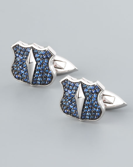 Pave Sapphire Shield Cuff Links