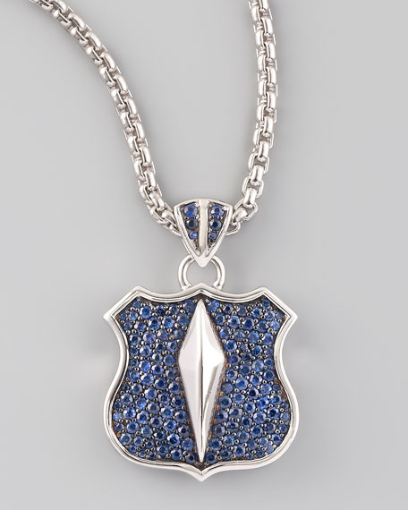 Pave Sapphire Shield Necklace