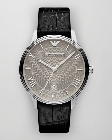 Classic Embossed-Strap Watch, Gray