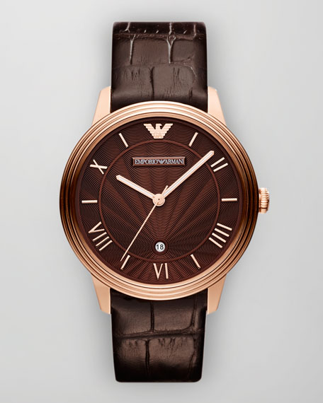 Classic Embossed-Strap Watch, Brown