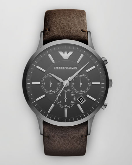 Sportivo Leather-Strap Chronograph Watch