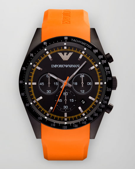 Sportivo Tachymeter Watch, Orange Strap