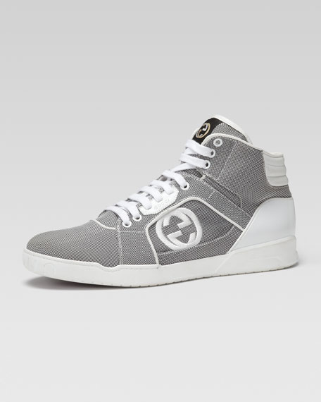 Rebound Mid High-Top Sneaker, Gray/White