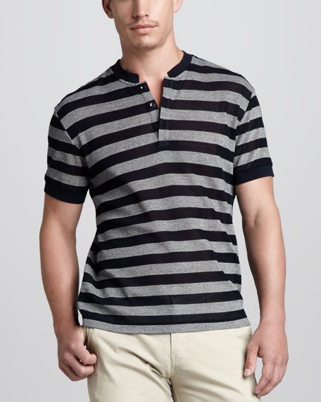 Striped Short-Sleeve Henley