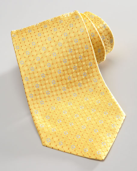 Gancini/Dots Silk Tie, Yellow