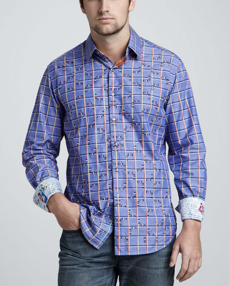 Check-Stripe Sport Shirt