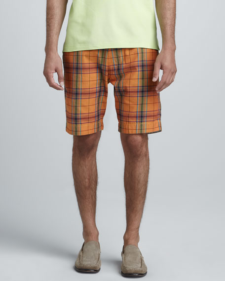 Topside Plaid Shorts, Orange
