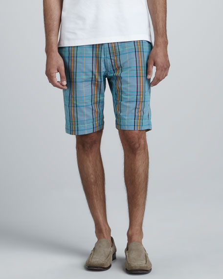 Topside Plaid Shorts, Blue