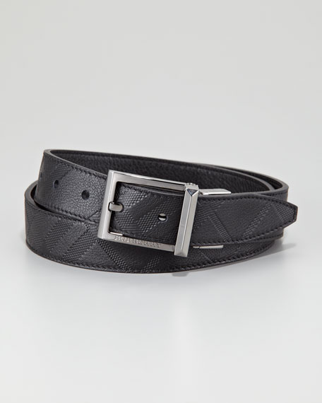 Check-Embossed Belt, Black