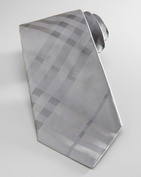 Tonal-Check Silk Tie, Gray