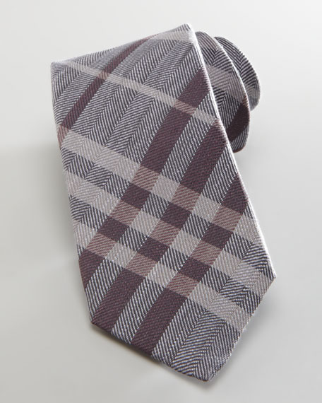 Herringbone Check Tie, Gray