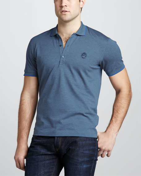 Tipped Logo Polo, Blue