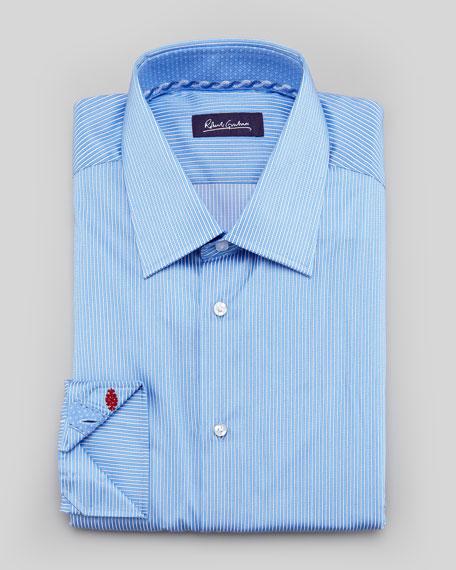 Brad Mini-Stripe Dress Shirt, Blue