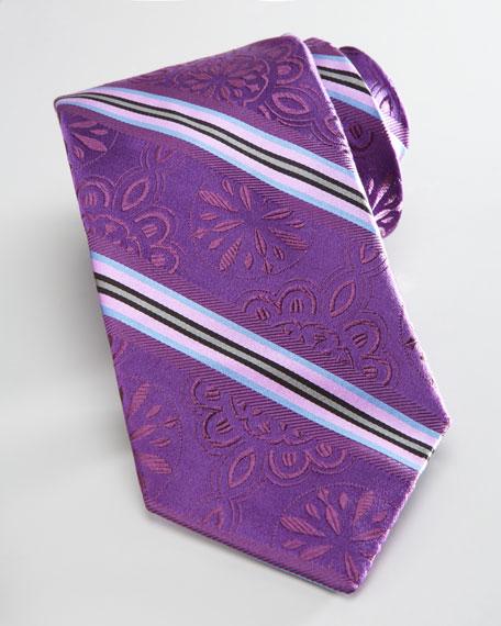 Floral-Stripe Silk Tie