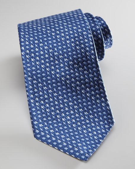 Tonal Woven Silk Tie, Blue