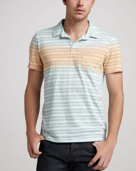 Herringbone-Stripe Pocket Polo