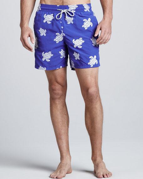 VIP Line Embroidered Swim Trunks, Royal