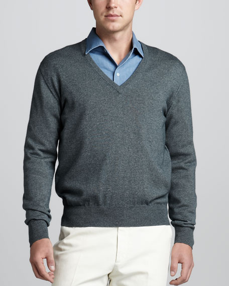 Scollo V-Neck Sweater, Teal Green