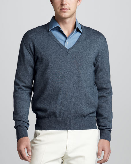 Scollo V-Neck Sweater, Lyons Blue