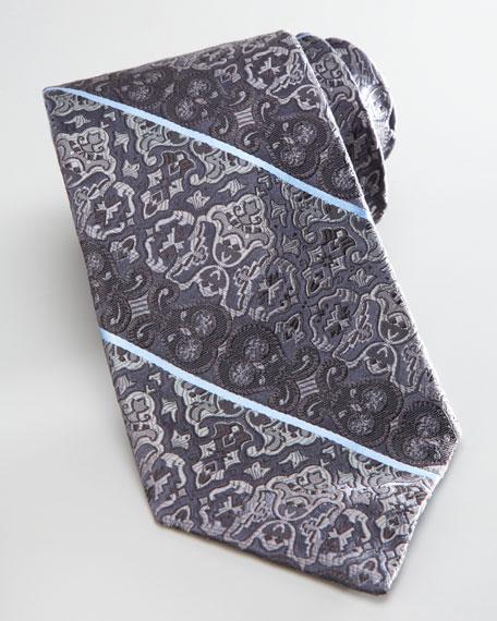 Paisley-Stripe Silk Tie