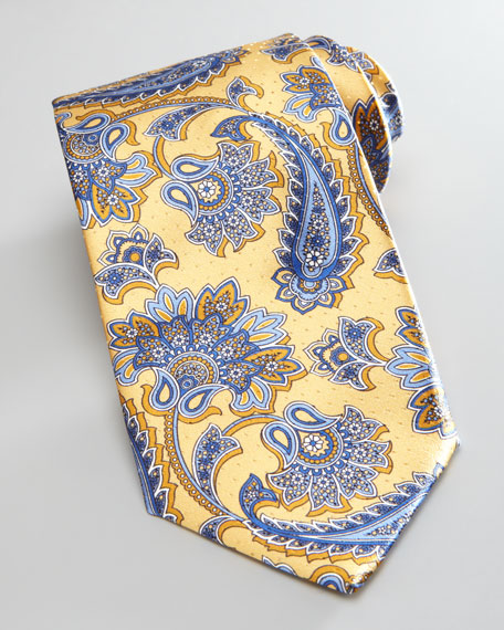 Paisley Silk Tie, Yellow/Blue
