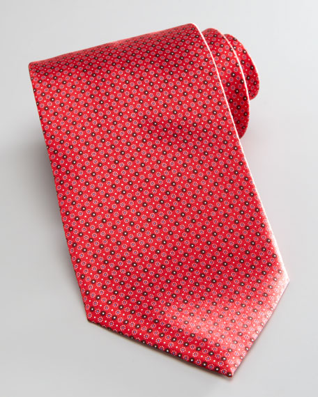 Dot-Print Silk Tie, Red