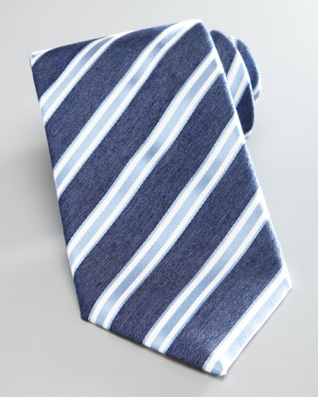 Classic Striped Silk Tie, Navy